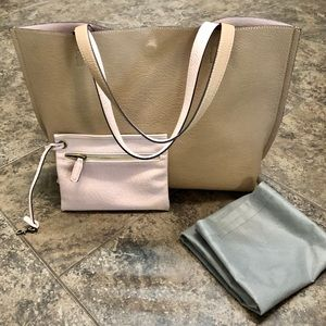 STREET LEVEL REVERSIBLE FAUX LEATHER TOTE TAN PINK